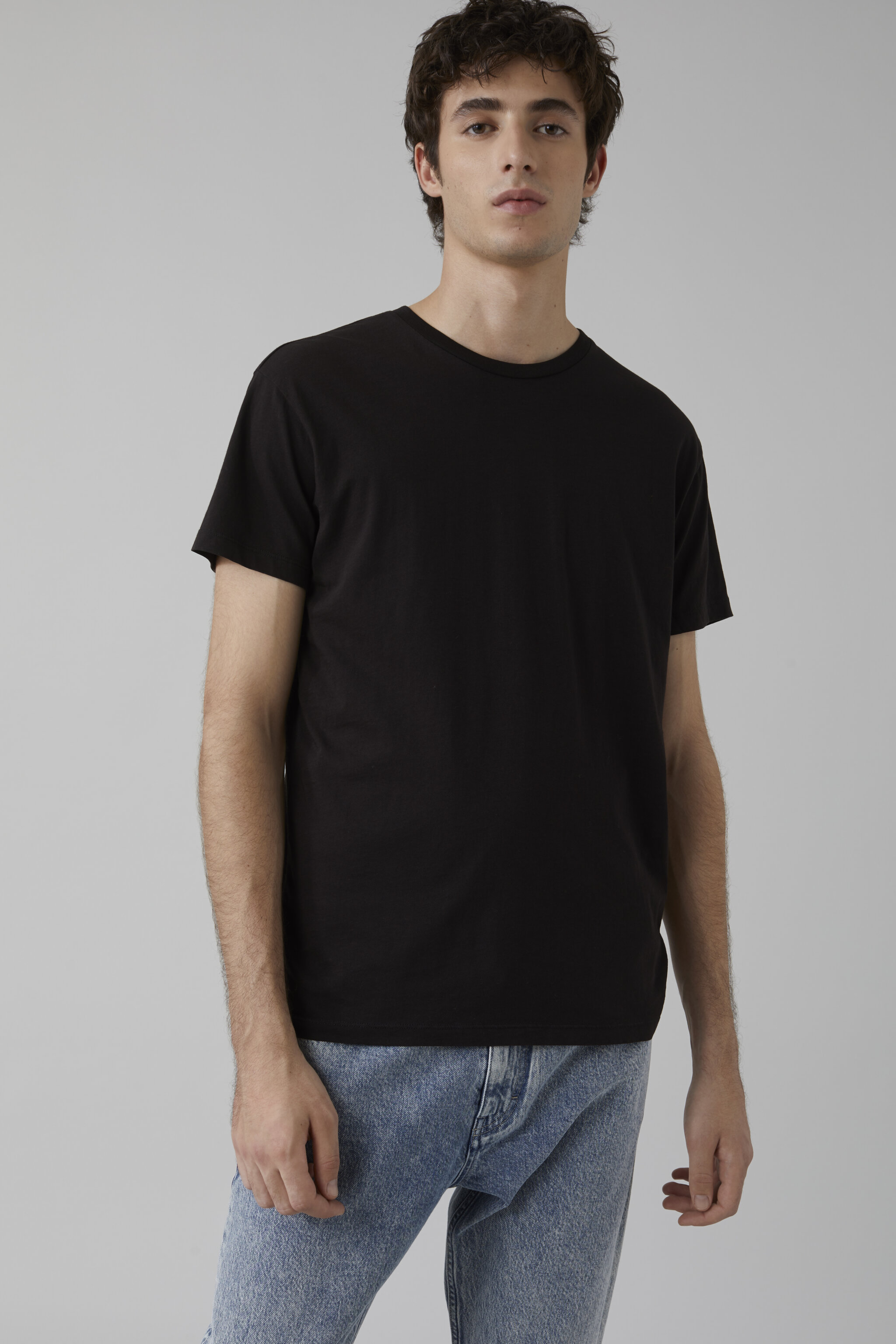 Herren CLOSED Basic T-Shirt black | 4054736219416