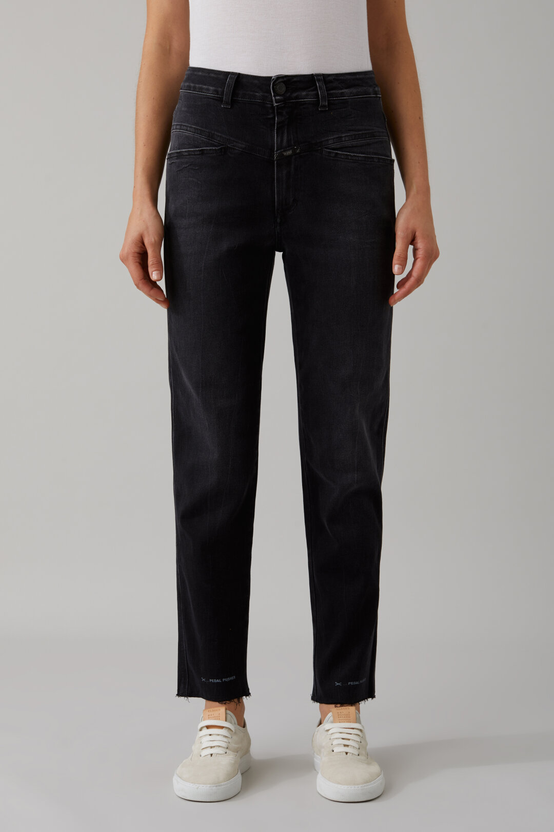 Pedal Pusher Black Stretch Denim