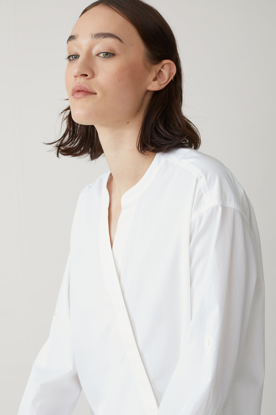 Asymmetric Blouse with Stand-Up Collar